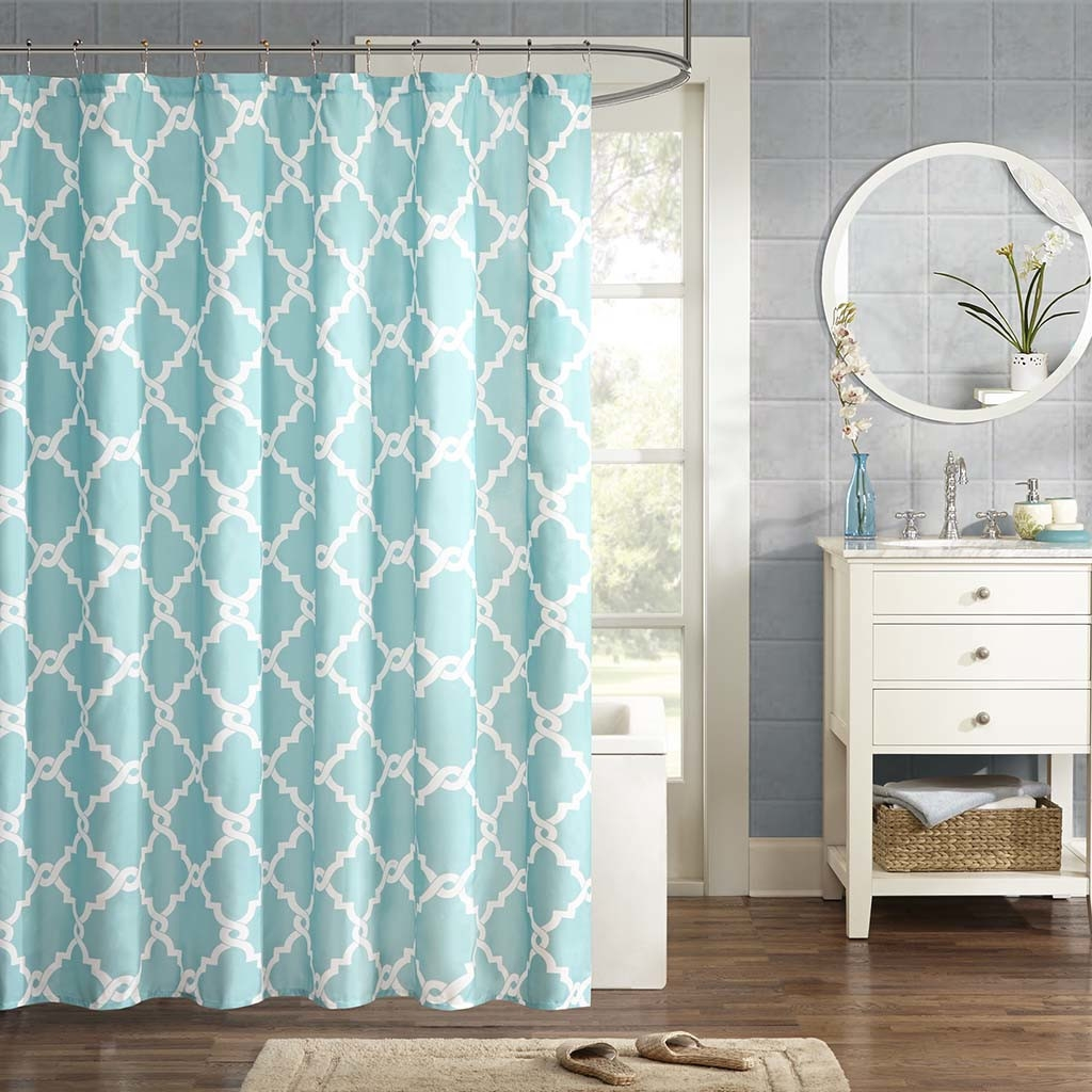 Brown And Teal Shower Curtain Bathroom Sets With Shower With Regard To Turquoise Trellis Curtains (View 15 of 25)