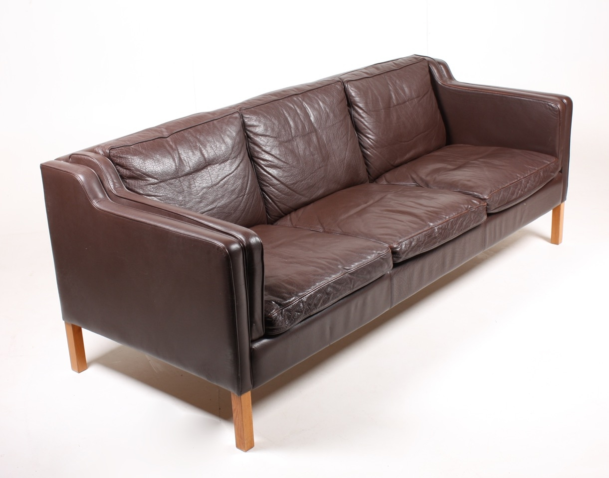 Brown Danish Three Seater Leather Sofa From Stou 1980s For Sale Pertaining To 3 Seater Leather Sofas (Image 6 of 15)