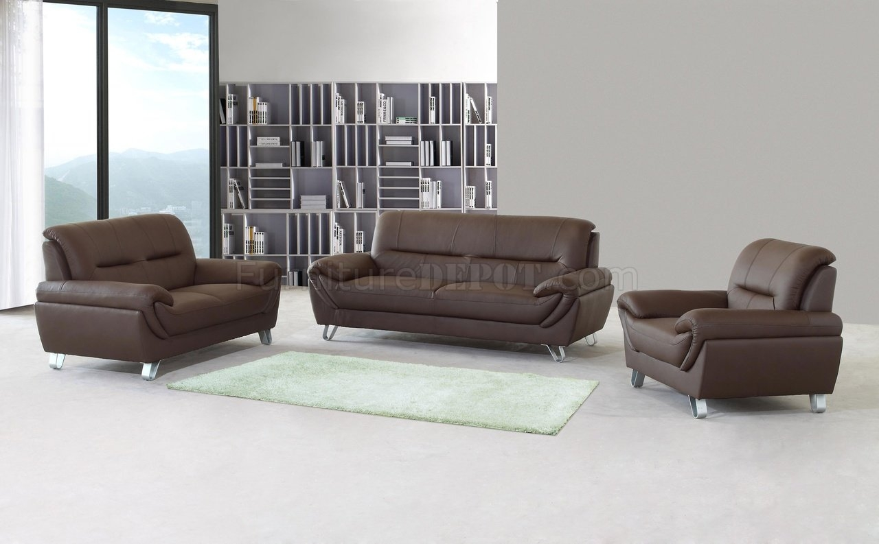 Brown Full Leather Modern Sofa Loveseat Chair Set Woptions For Sofa Loveseat And Chair Set (Image 4 of 15)