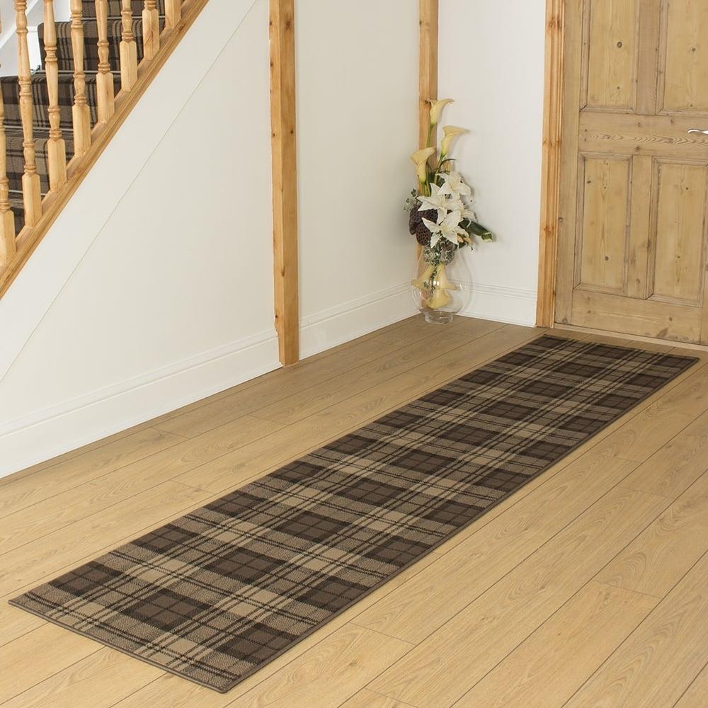 Brown Hallway Carpet Runner Tartan Inside Hall Runner (View 5 of 15)