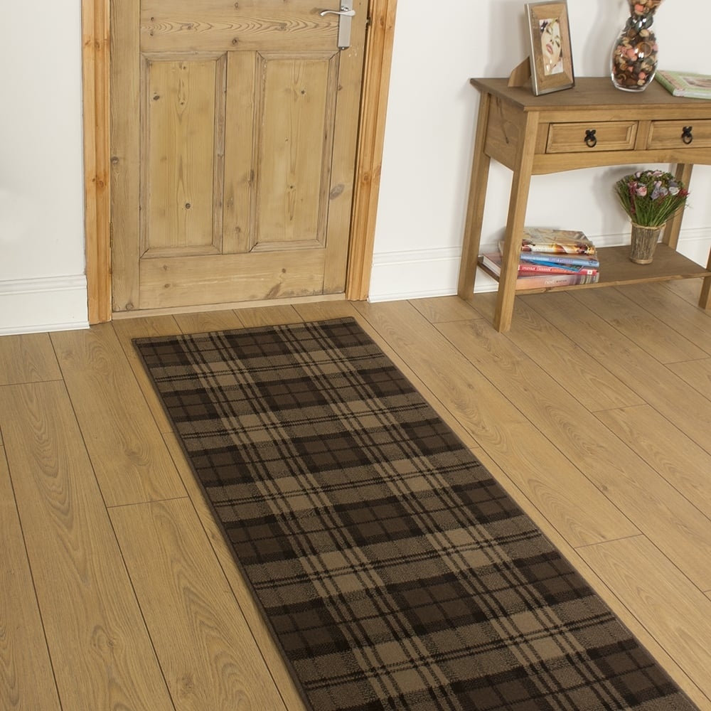 Brown Hallway Carpet Runner Tartan Intended For Hall Runner (Image 5 of 15)