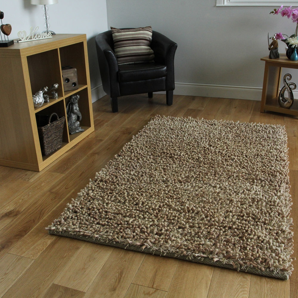Brown Thick Shaggy Rug Thick Pile Soft Touch Great Quality Cheap Inside Thick Rugs (Image 1 of 15)