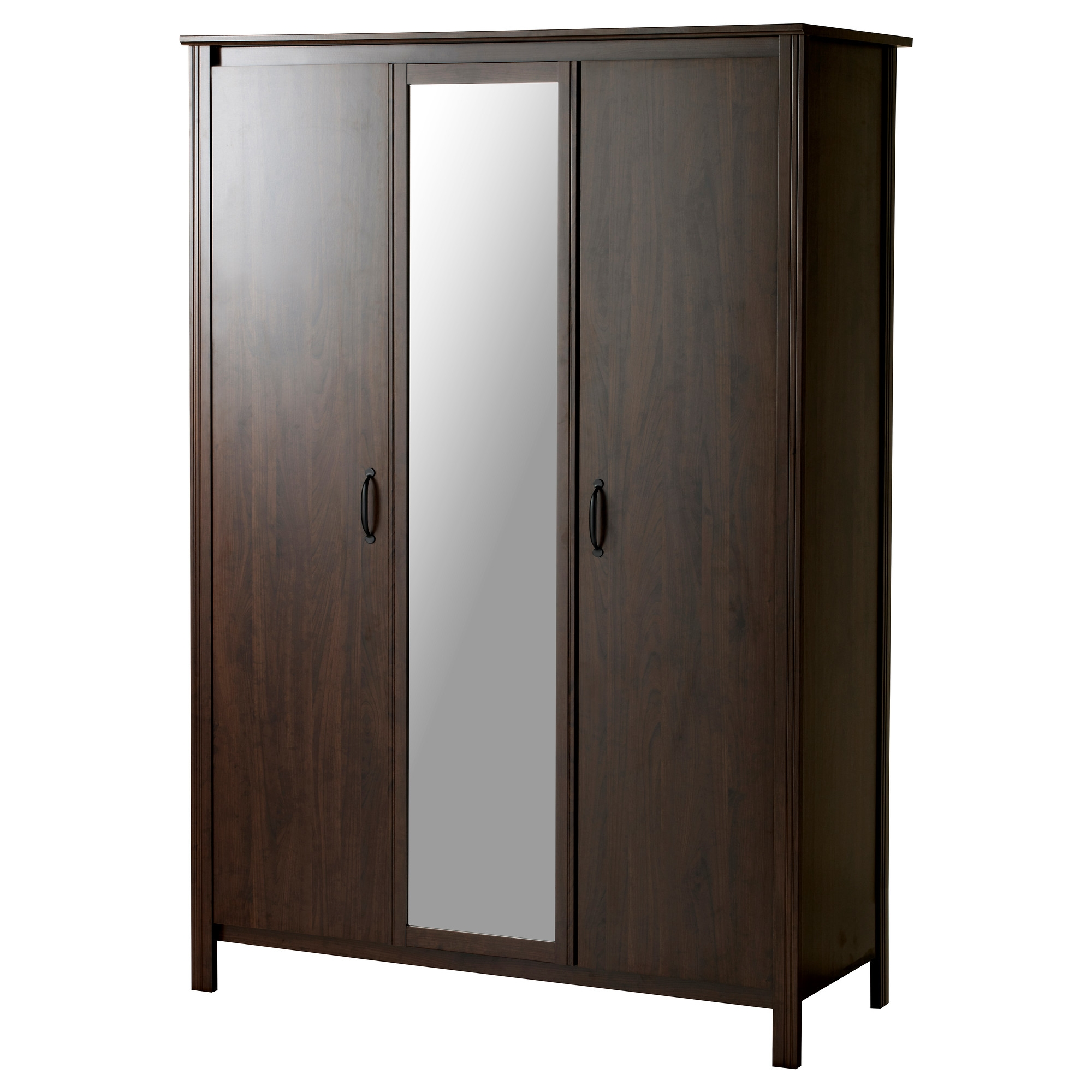 Brusali Wardrobe With 3 Doors Brown Ikea Within Mobile Wardrobe Cabinets (Image 4 of 25)