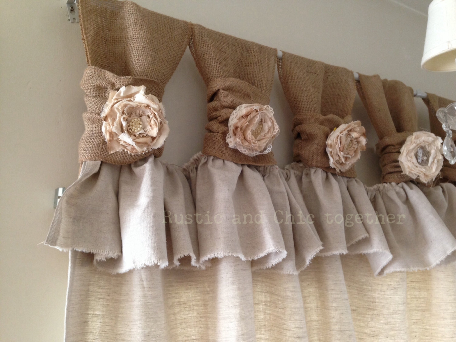 Burlap Drop Cloth Wide Ruched Tabs Curtains Tea Dyed Rosette With Regard To Burlap Curtains (Image 7 of 25)