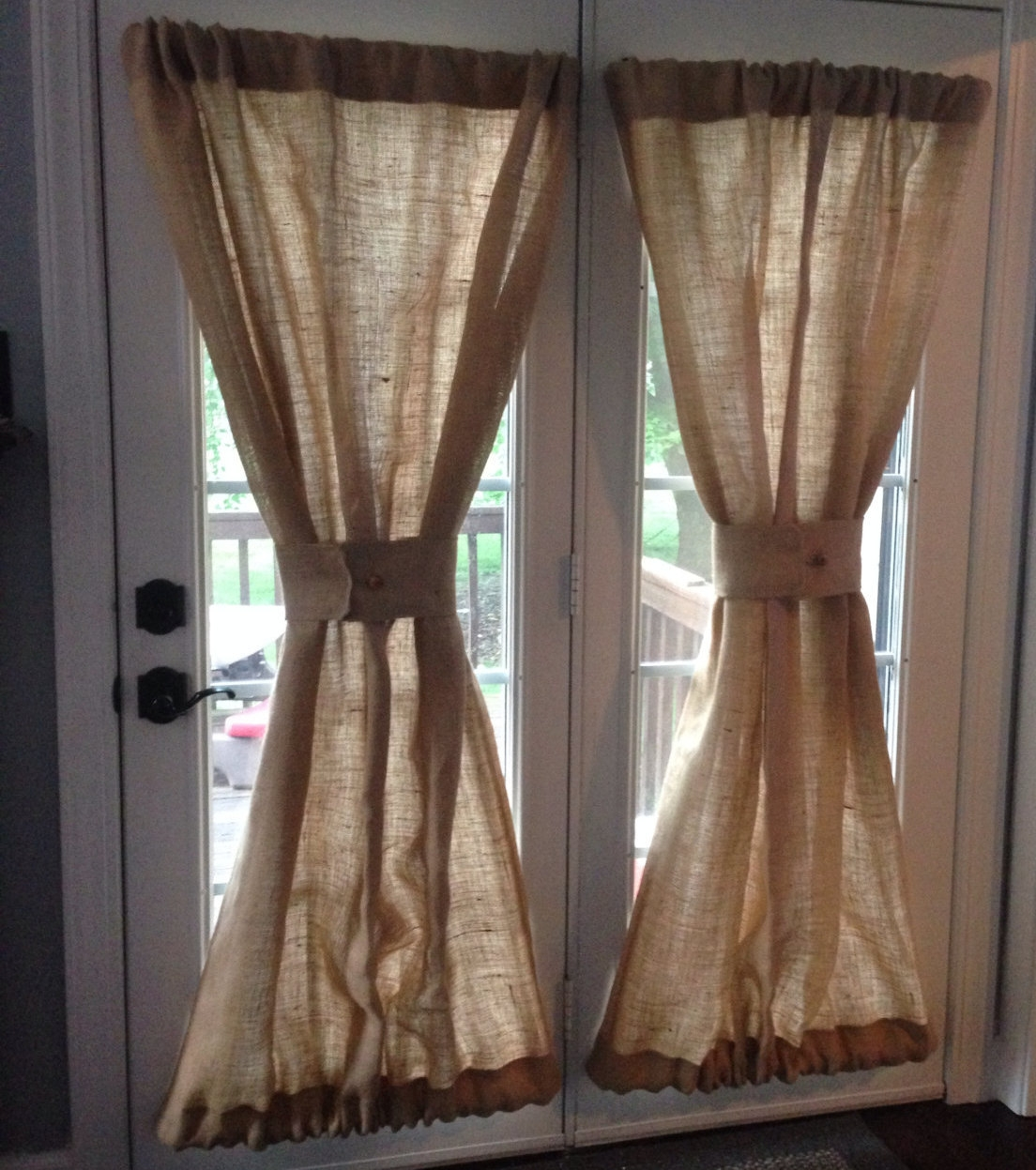 Burlap Sheers French Door Drapes Burlap Curtains French Intended For Burlap Curtains (Image 9 of 25)