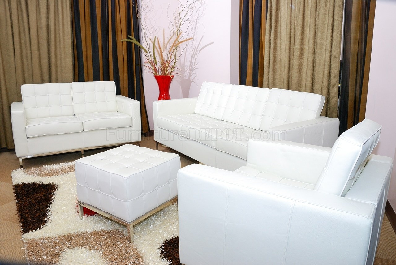 Button Tufted Full Leather Sofa Chair Ottoman Set Within Sofa Chair And Ottoman (Image 2 of 15)