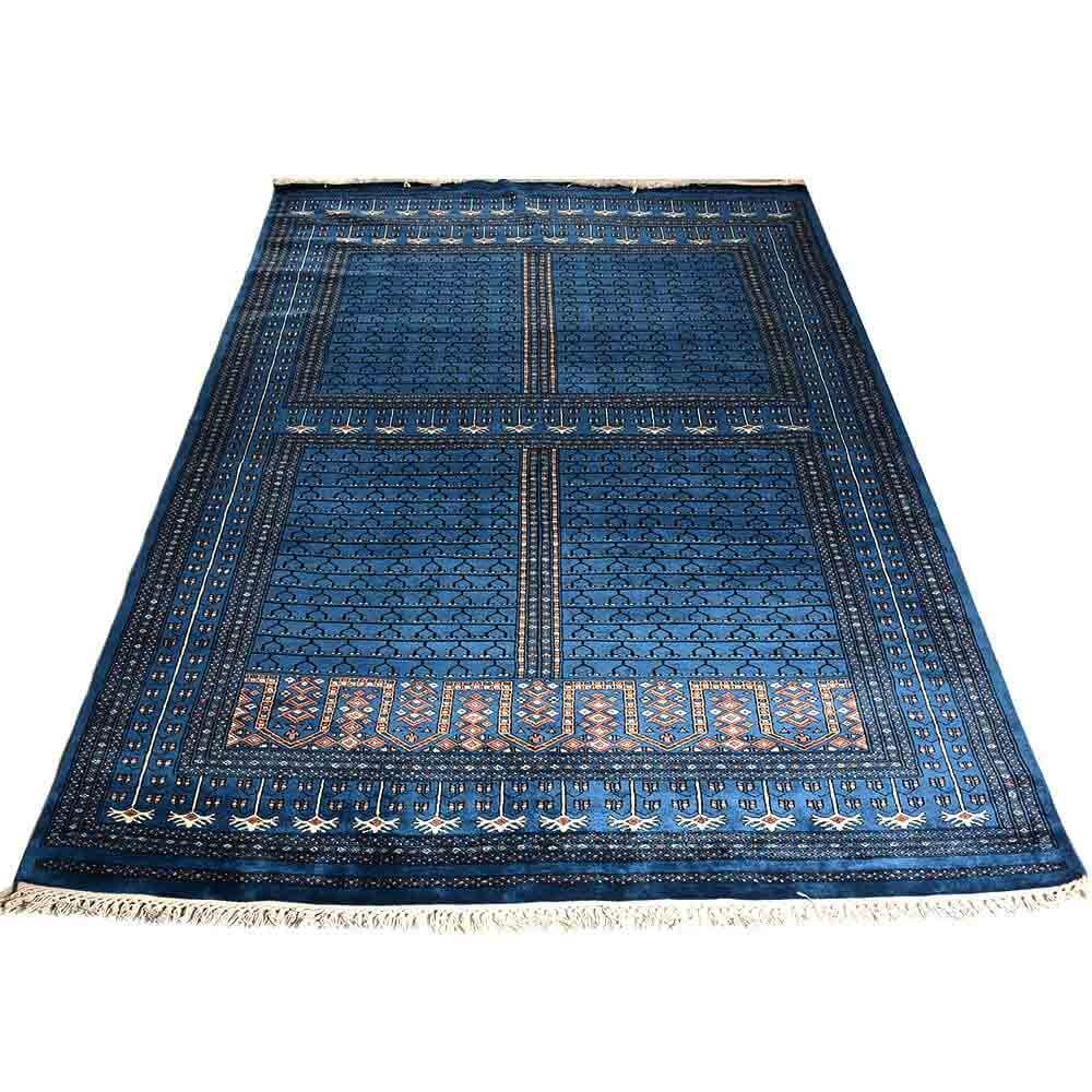 Buy Blue 69 Parda Hand Knotted Wool Rug With Wool Blue Rugs (Image 5 of 15)