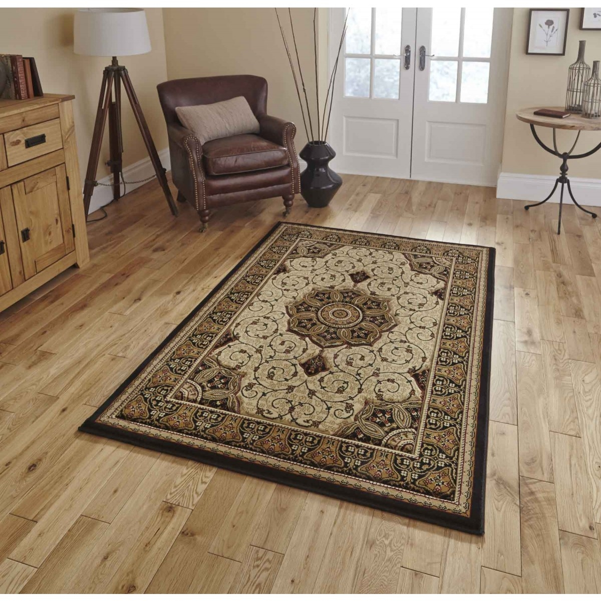 Buy Heritage 4400 Black Cream Traditional Rug Therugshopuk Intended For Cream And Black Carpets (Image 5 of 15)