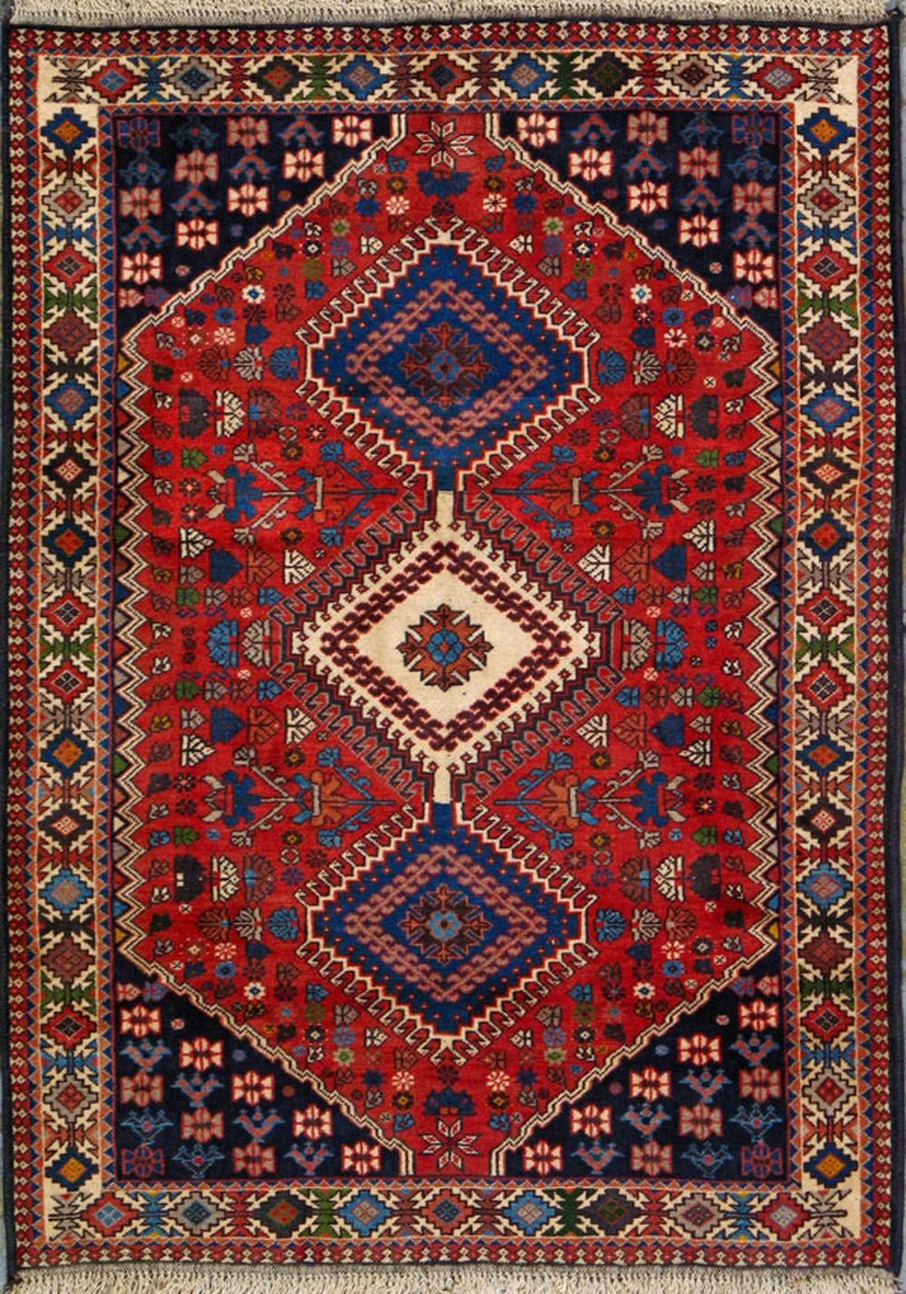 Buy Yalameh Persian Rug 3 6 X 4 10 Authentic Yalameh Handmade Rug Throughout Handmade Rugs (Image 7 of 15)