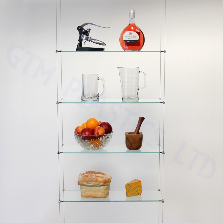 Cable Shelving Kit Four 200 X 600 Glass Shelves Throughout Suspended Glass Display Shelves (View 8 of 15)