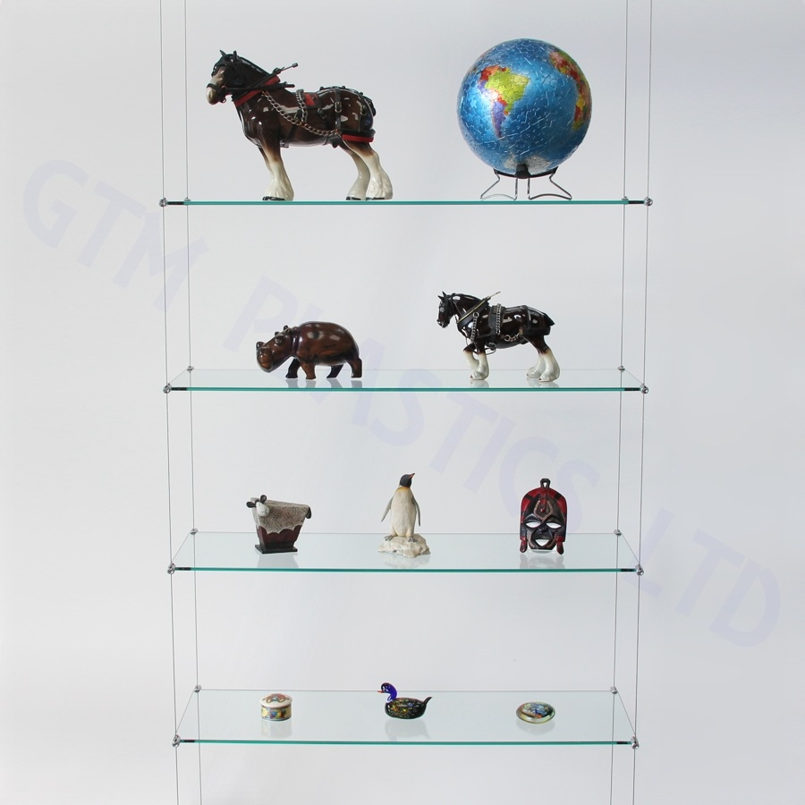 Cable Shelving Kit Four 250 X 800 Glass Shelves Intended For Suspended Glass Display Shelves (View 11 of 15)