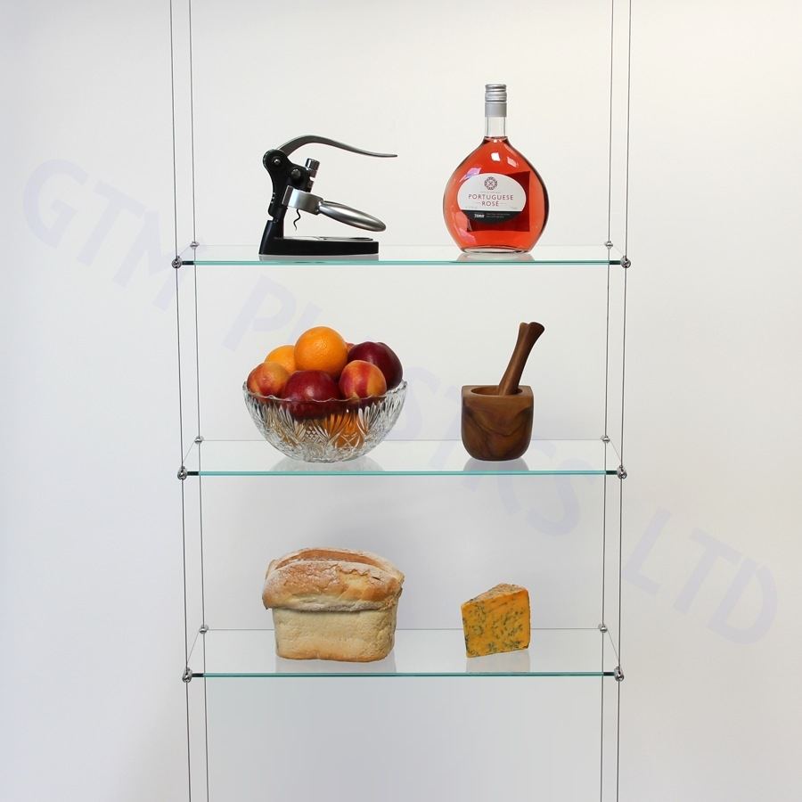 Cable Suspended Hanging Shelving Photo Gallery With Regard To Suspended Glass Shelf (Image 1 of 15)