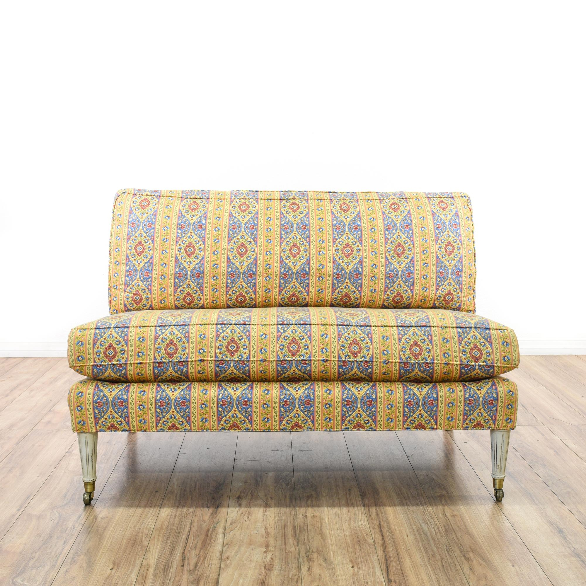 Calico Corners Colorful Floral Striped Loveseat Calico Corners With Yellow Chintz Sofas (Image 6 of 15)