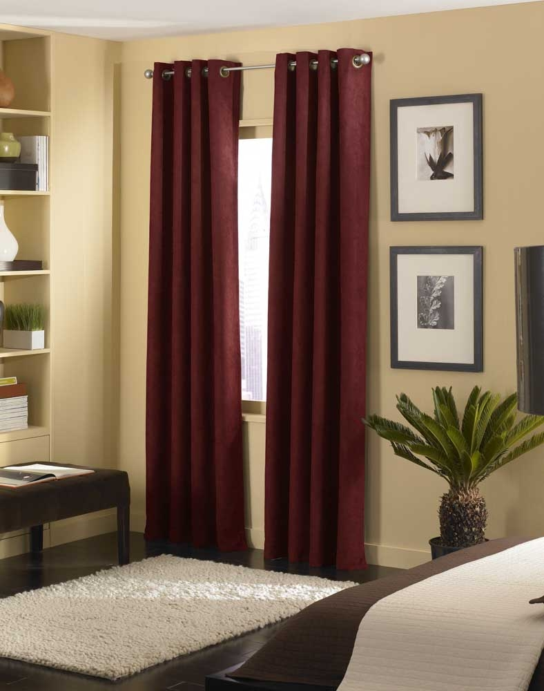 Cameron Luxe Microsuede Grommet Curtain Panel Curtainworks Within Faux Suede Curtain Panels (Image 8 of 25)