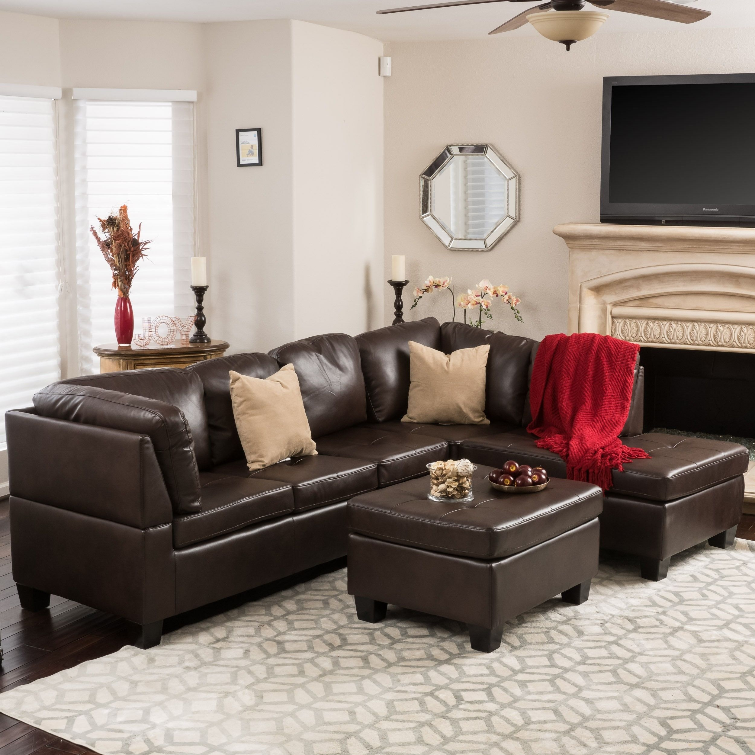 Canterbury 3 Piece Pu Leather Sectional Sofa Set Christopher Intended For Canterbury Leather Sofas (Image 4 of 15)