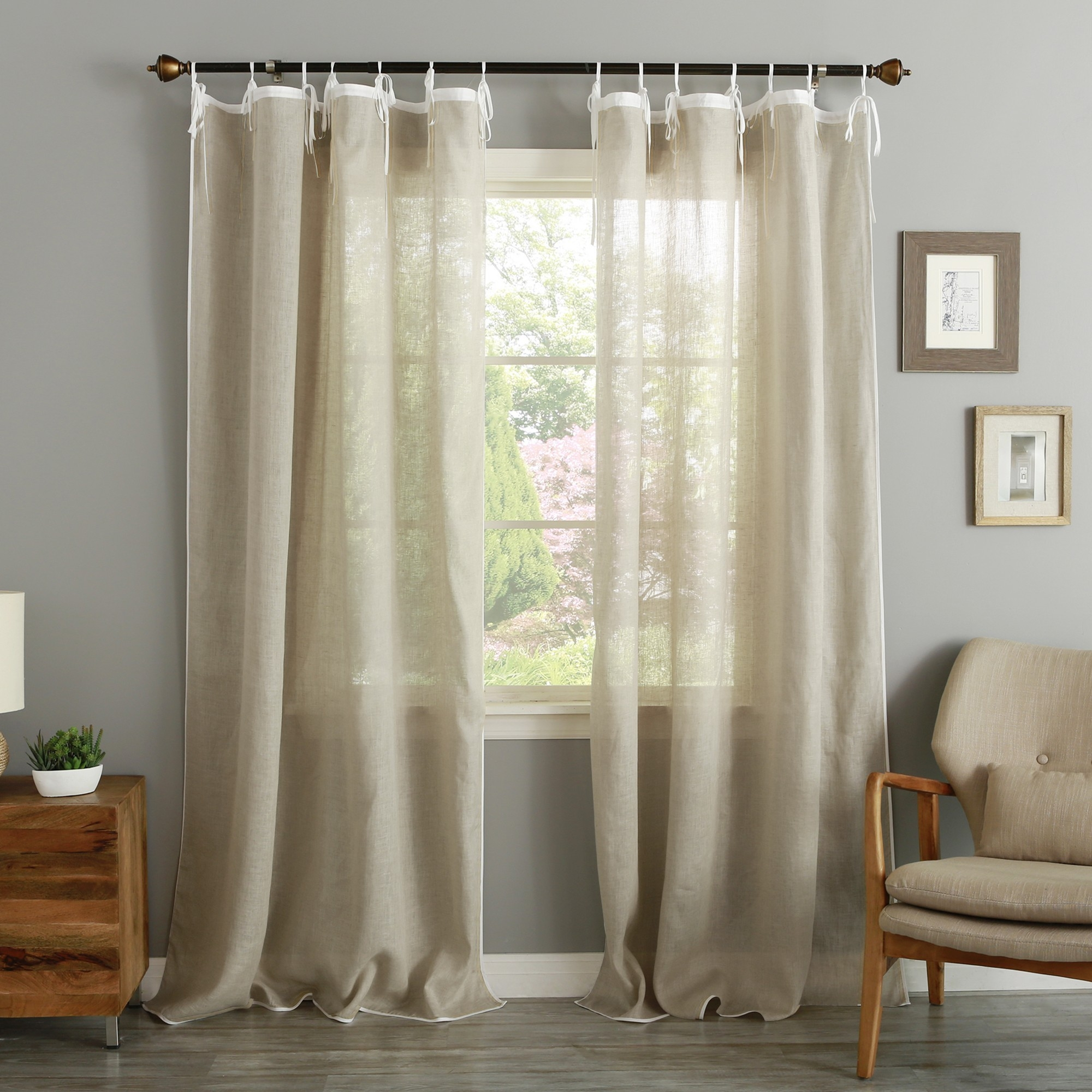 Carefree Linen Grommet Curtain Panels Tags Linen Curtains Throughout Linen Grommet Curtains (Image 4 of 25)