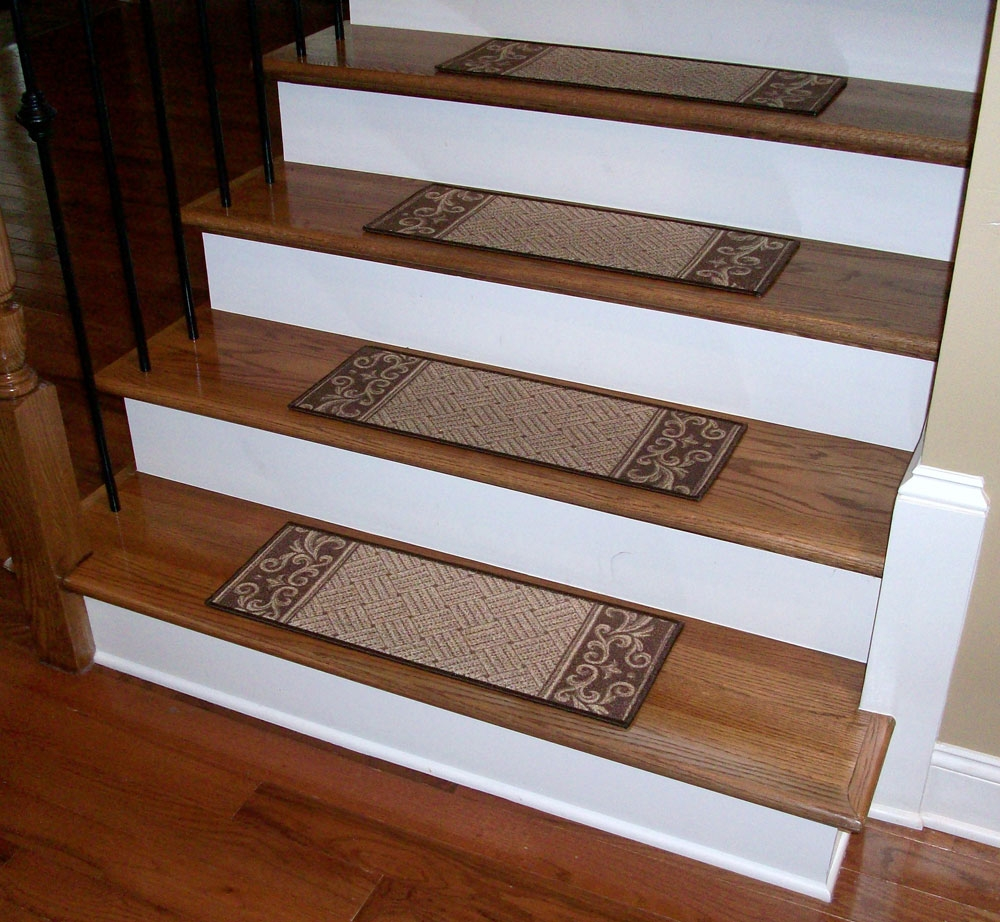 Carpet Stair Treads Caramel Scroll Border Dean Flooring With Regard To Rectangular Stair Tread Rugs (Image 3 of 15)