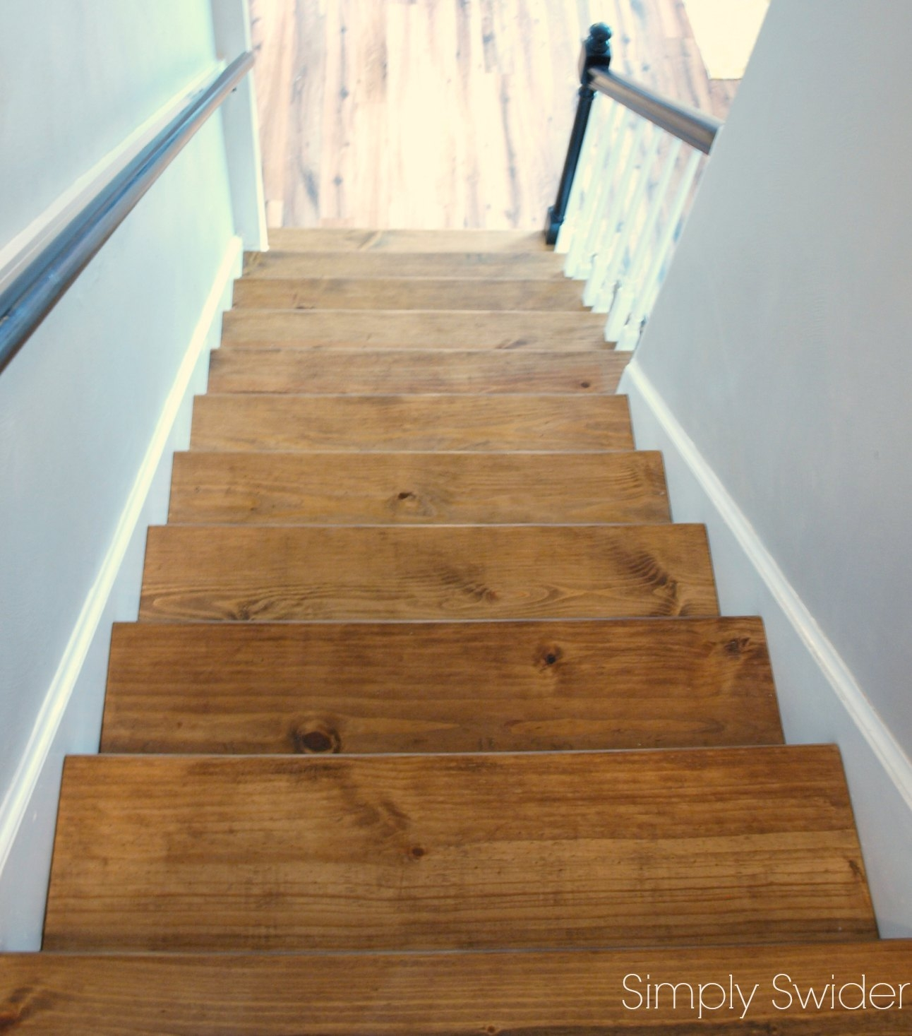 Carpet To Wood Stair Makeover Reveal Simply Swider Inside Carpet For Wood Stairs (Image 6 of 15)