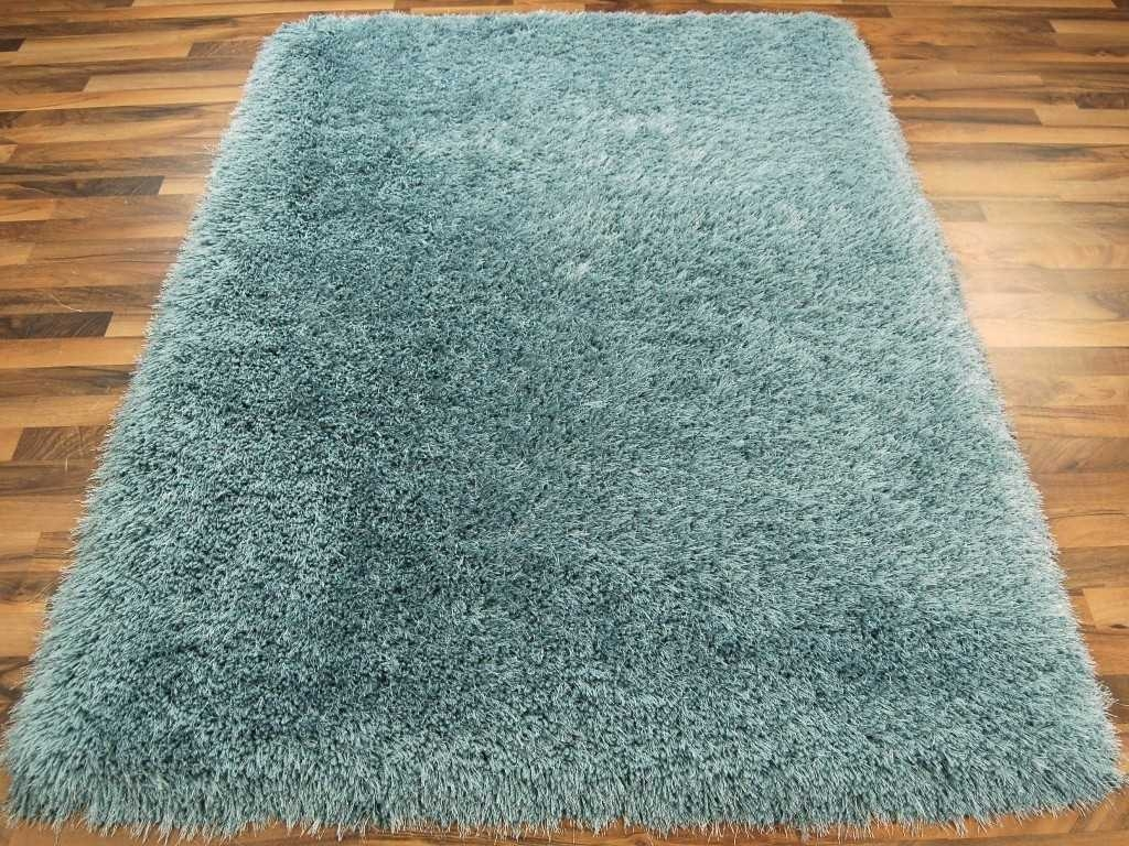 Cascade Duck Egg Blue Shaggy Rugs Modern Rugs Regarding Duck Egg Rugs (Image 2 of 15)