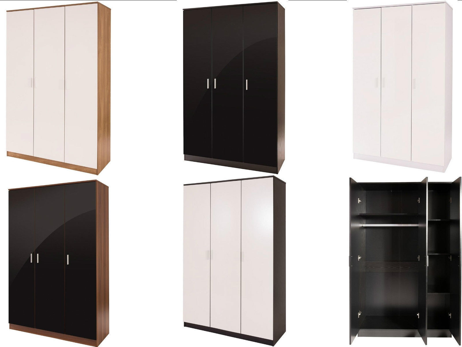 Caspian Supreme High Gloss 3 Door Wardrobes With Shelves Black Oak Pertaining To Wardrobes With Shelves (Image 6 of 15)