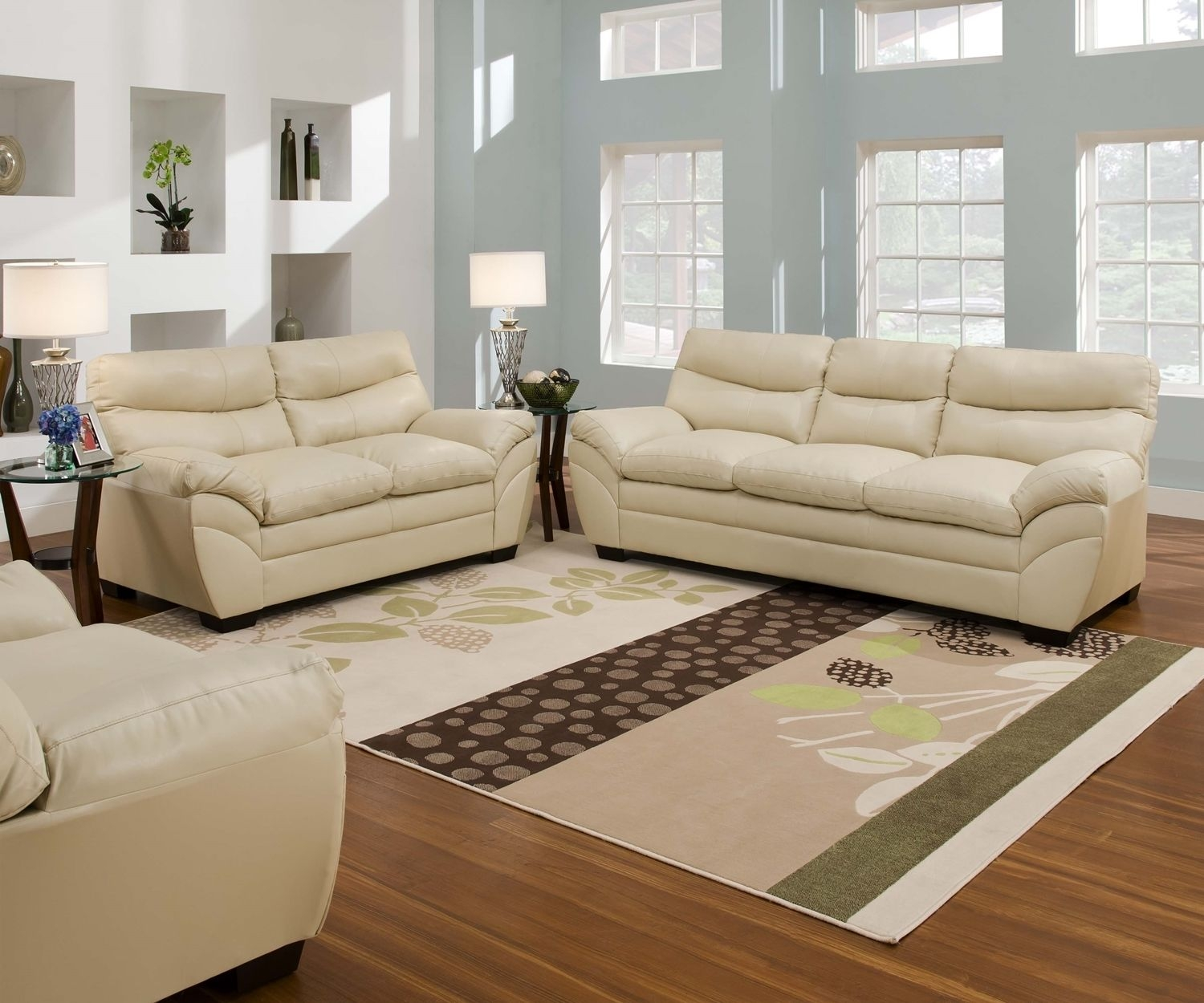 Casual Contemporary Cream Bonded Leather Sofa Set Elpublicante Intended For Casual Sofas And Chairs (Image 4 of 15)
