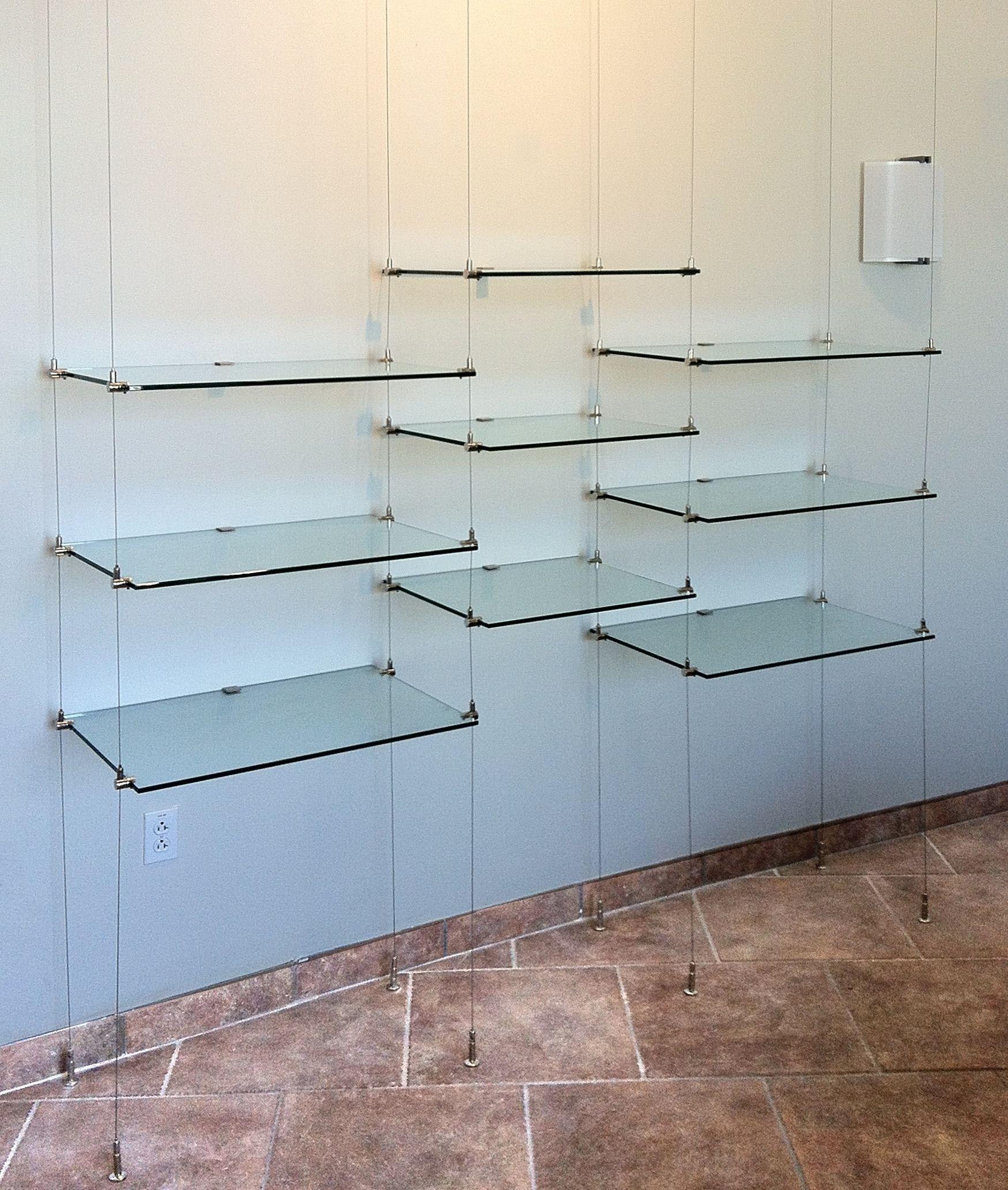 Ceiling Hanging Shelves Kitchen Kitchen Shelf Glass On Stainless Regarding Suspended Glass Shelves (Image 2 of 15)