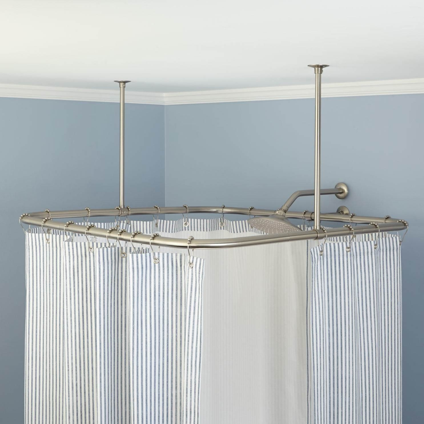 Ceiling Mounted Shower Curtain Rods Home Hold Design Reference Inside L Curtain Rods (Image 4 of 25)