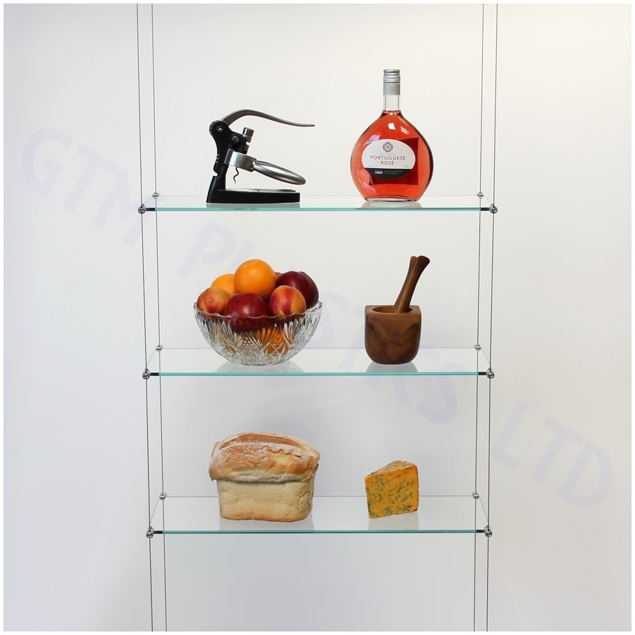 Ceiling Suspended Glass Shelf Shelving System Hanging Contemporary With Cable Glass Shelf System (Image 6 of 15)