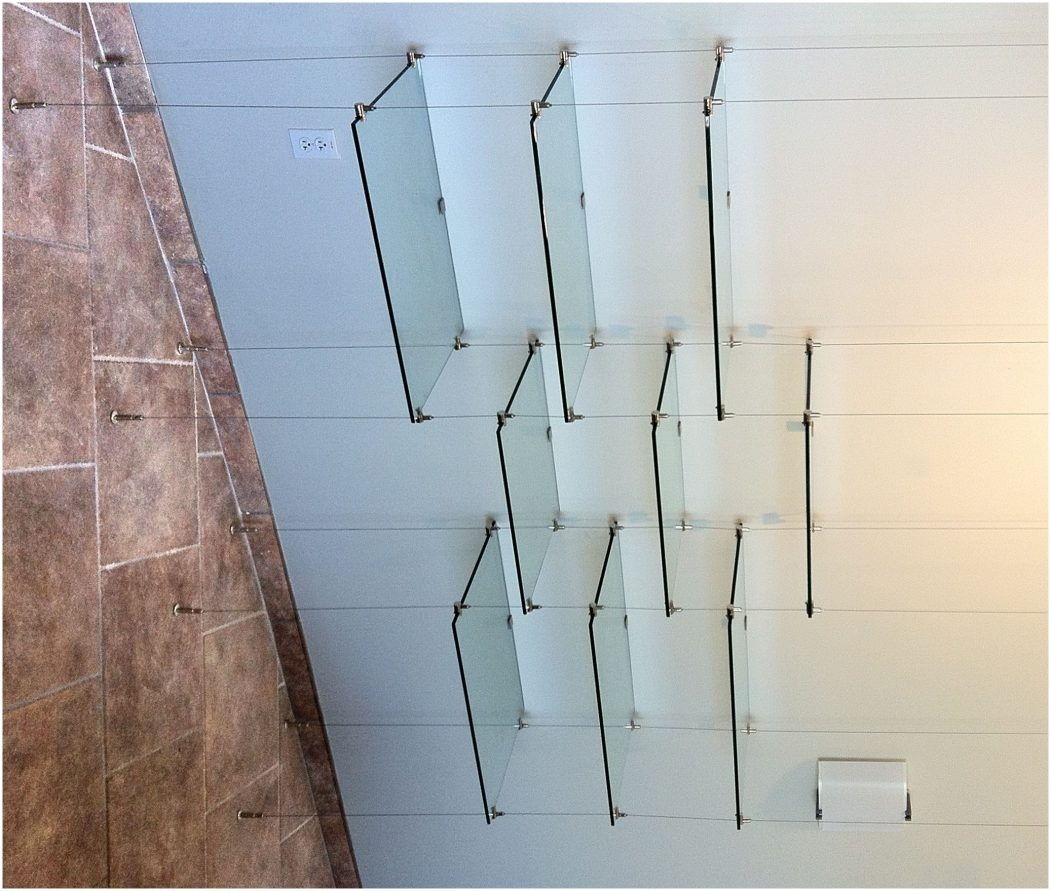 Ceiling Suspended Glass Shelf Shelving System Hanging Contemporary Within Glass Suspension Shelves (Image 3 of 15)