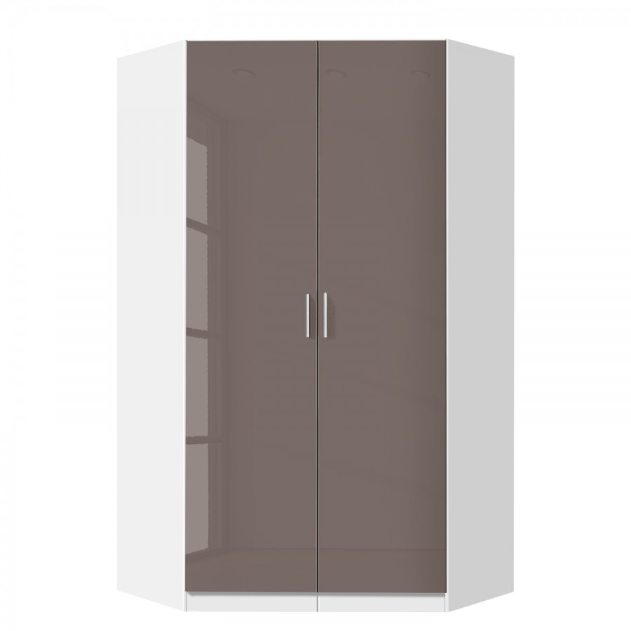 Celline High Gloss Lava Grey 2 Door Corner Wardrobe With Shelves Pertaining To Wardrobe With Shelves (View 17 of 25)