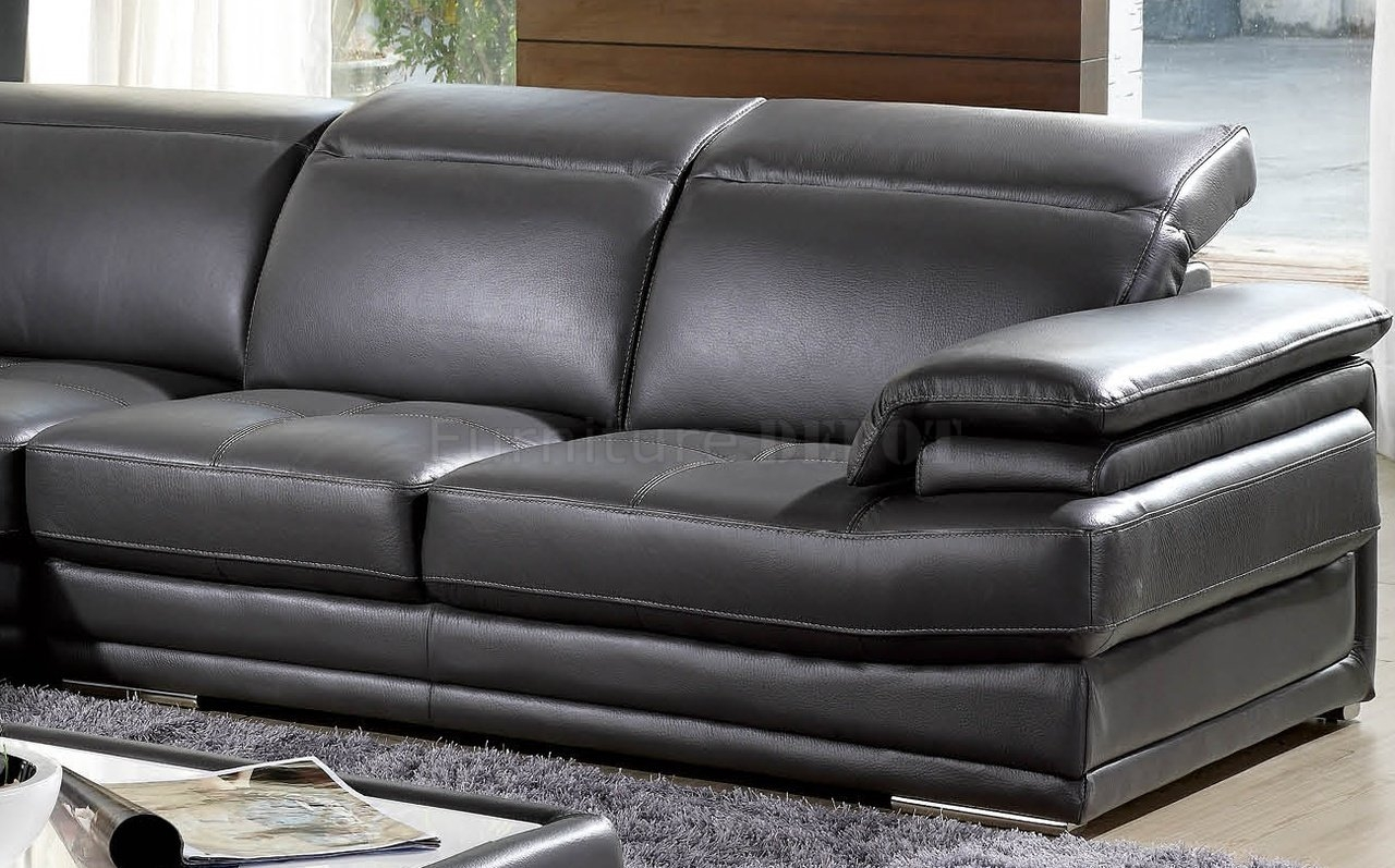 Charcoal Leather Sofa Recliner Dark Grey Full Genuine Italian With Charcoal Grey Sofa (Image 3 of 15)