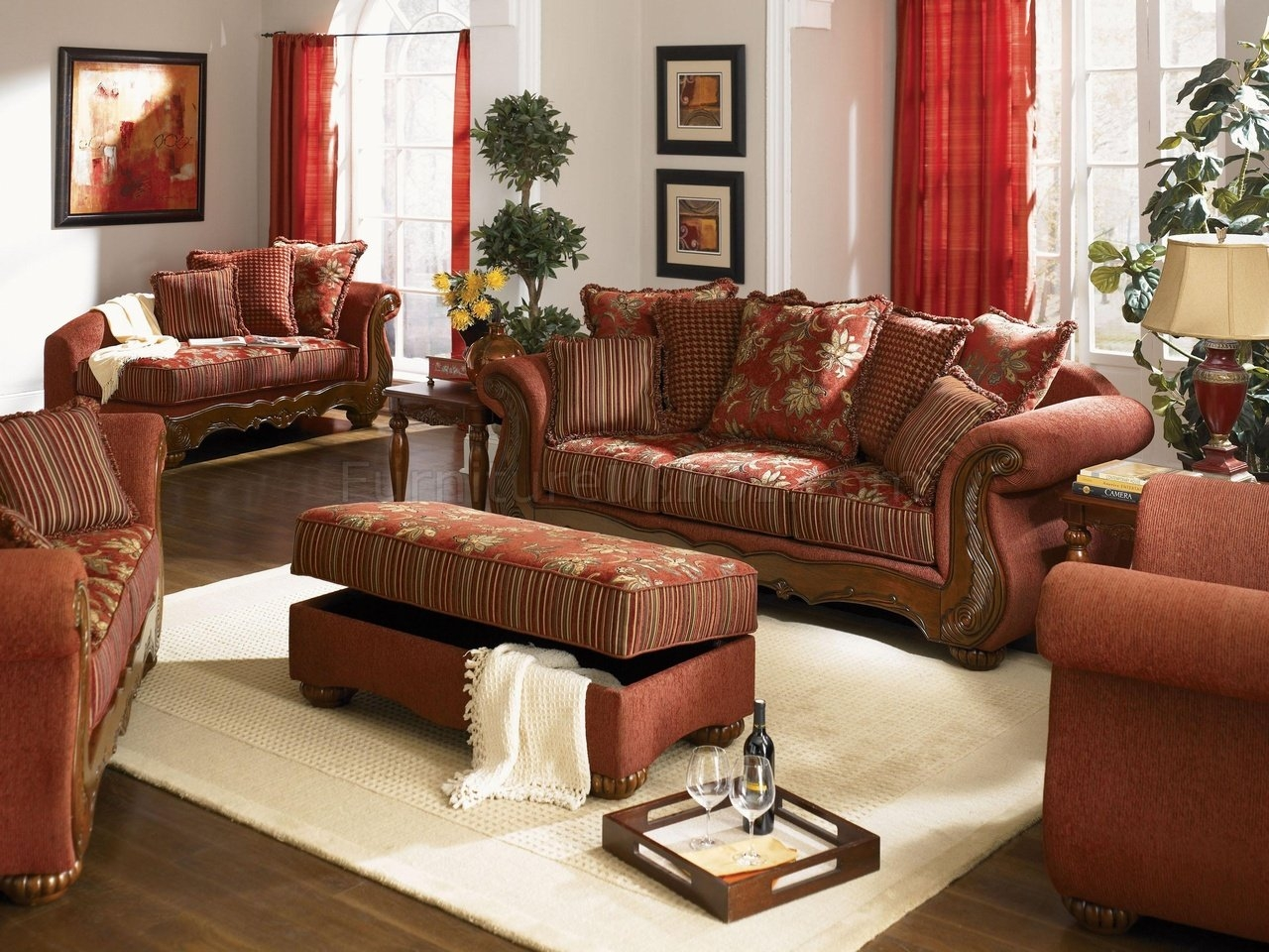 Chenille Fabric Traditional Living Room Savona U142 Red Within Traditional Fabric Sofas (Image 2 of 15)