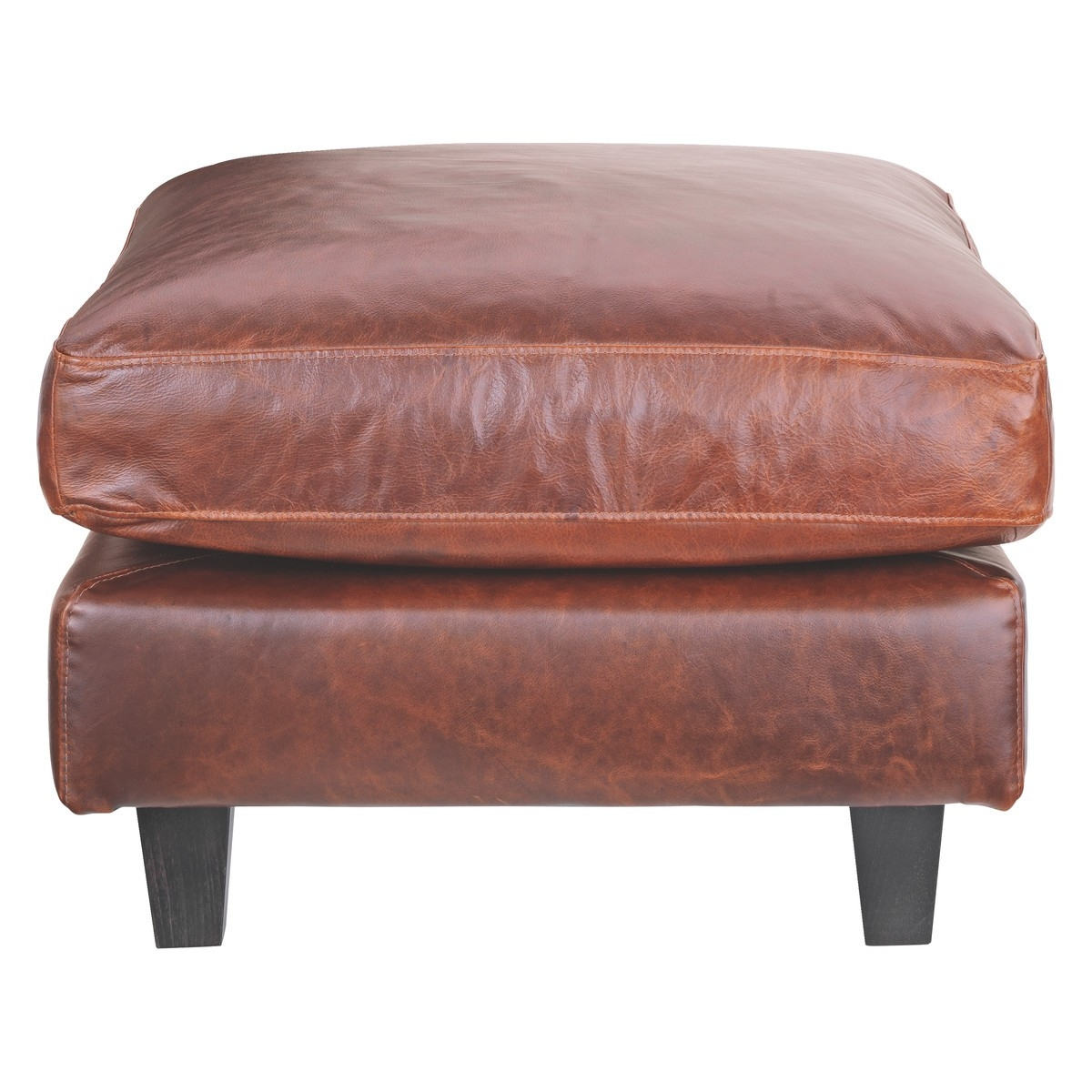 Chester Tan Leather Footstool Dark Stained Feet Buy Now At Regarding Leather Footstools And Pouffes (Image 1 of 15)