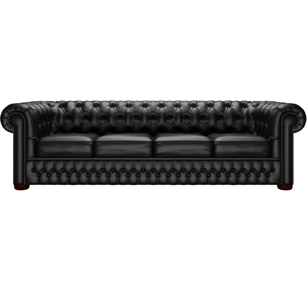 Chesterfield 4 Seater Sofa In Shelly Black From Sofas Saxon Uk With 4 Seater Sofas (Image 5 of 15)