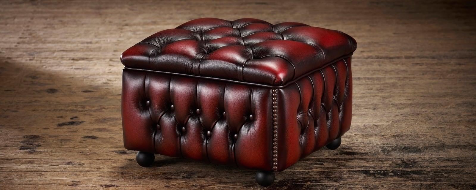 Chesterfield Footstools Handcrafted In Leather Fabric Timeless Throughout Fabric Footstools And Pouffes (Image 2 of 15)