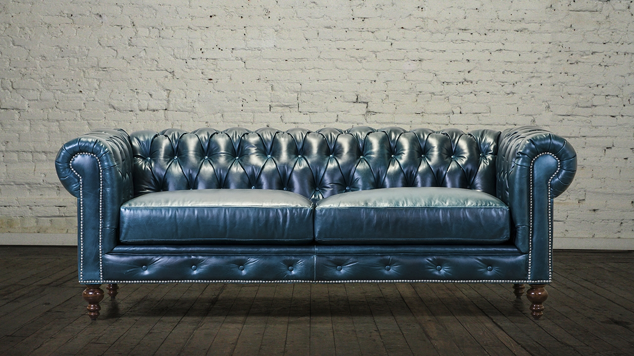 Chesterfield Sofa 85 Leather Cortina Teal 1 Cococo Home Inside Leather Chesterfield Sofas (Image 6 of 15)