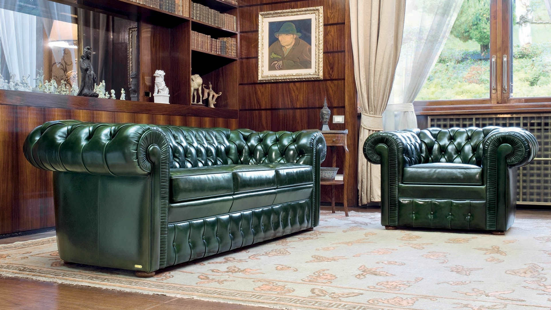 Chesterfield Sofa Leather 3 Seater Green Lancaster Inside Leather Chesterfield Sofas (Image 7 of 15)