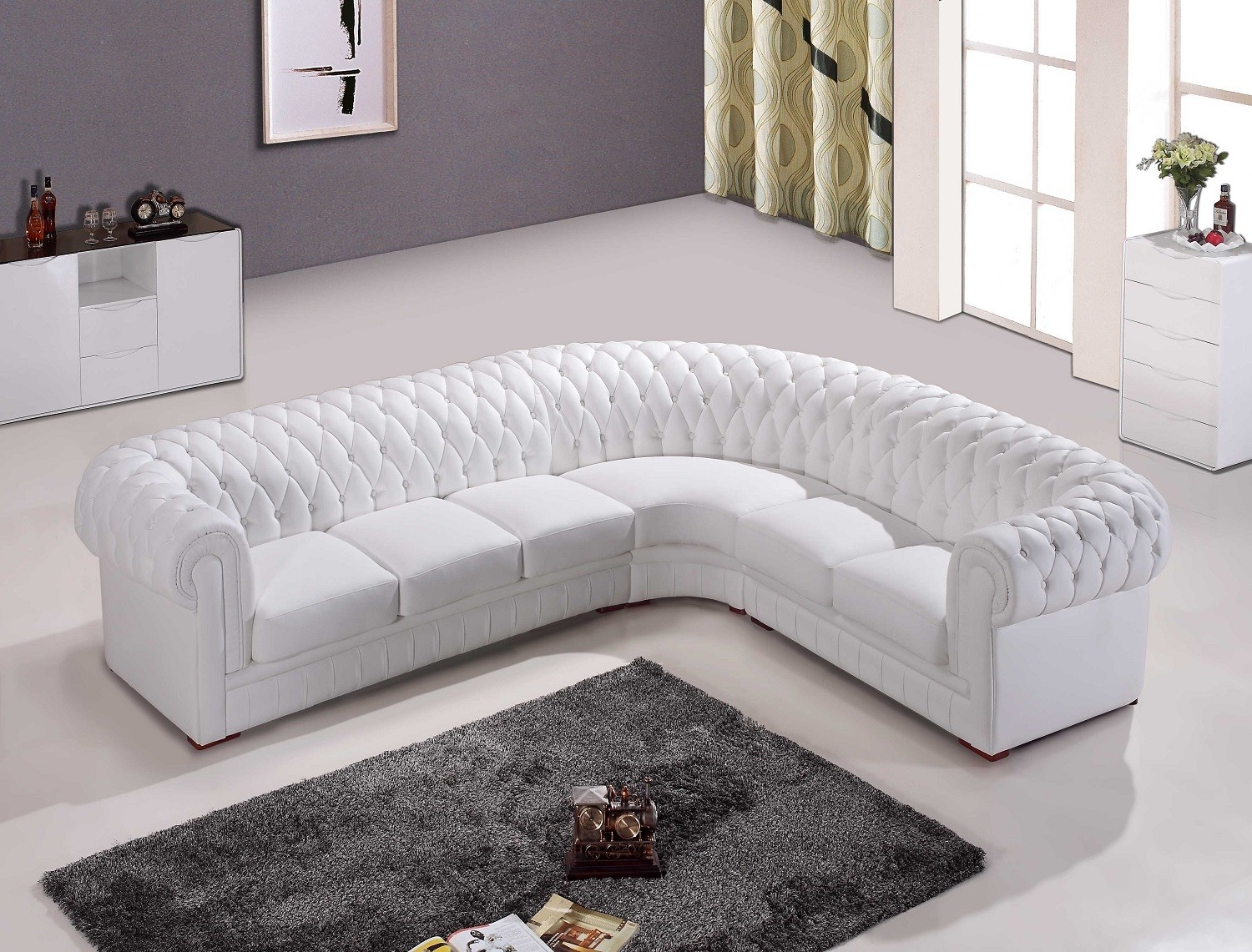 Chesterfield White Leather Corner Sofa For The Home Pinterest Regarding White Leather Corner Sofa (Image 1 of 15)