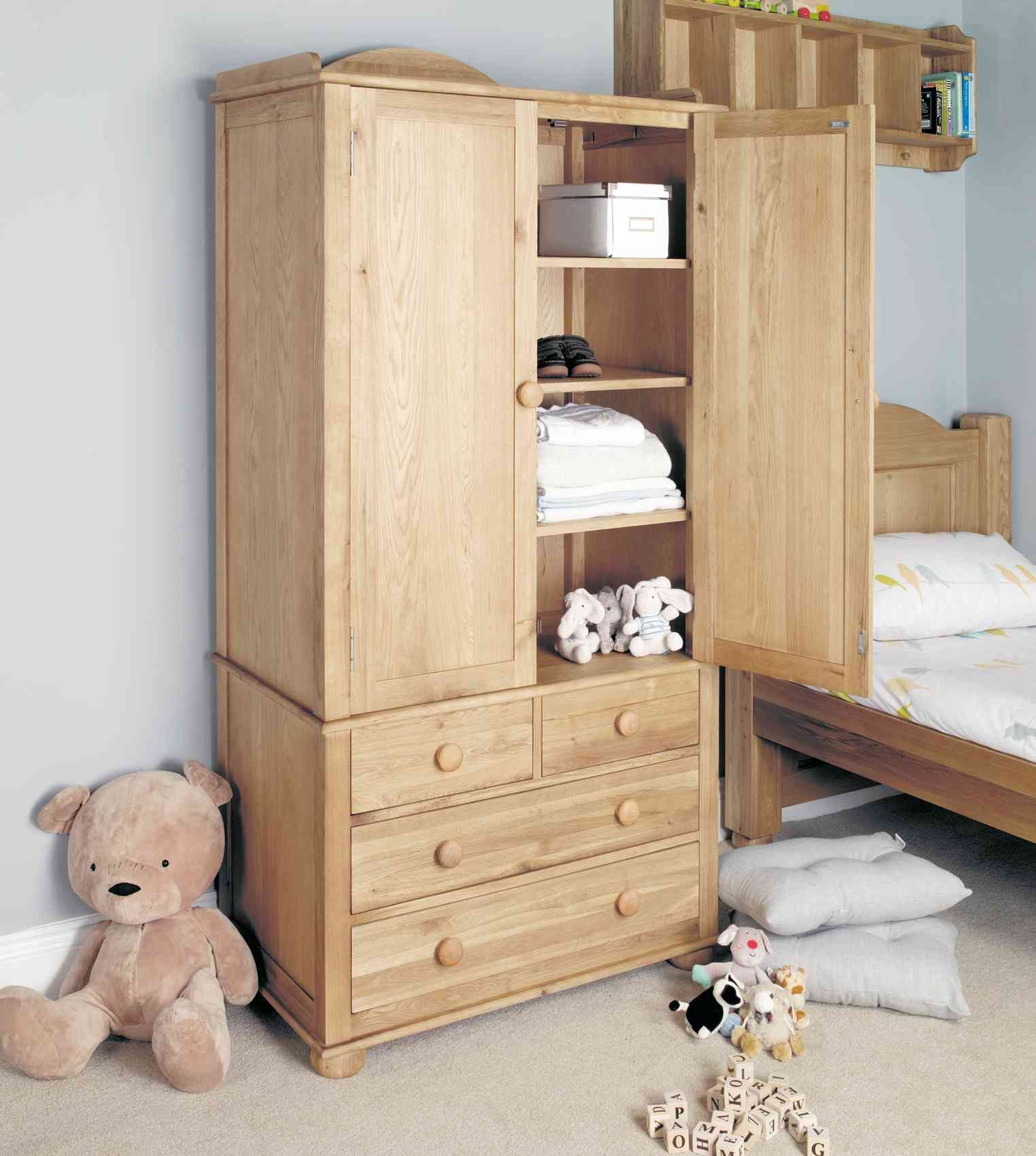 Childrens Oak Double Wardrobe Hampshire Furniture Throughout Cheap Baby Wardrobes (Image 11 of 25)