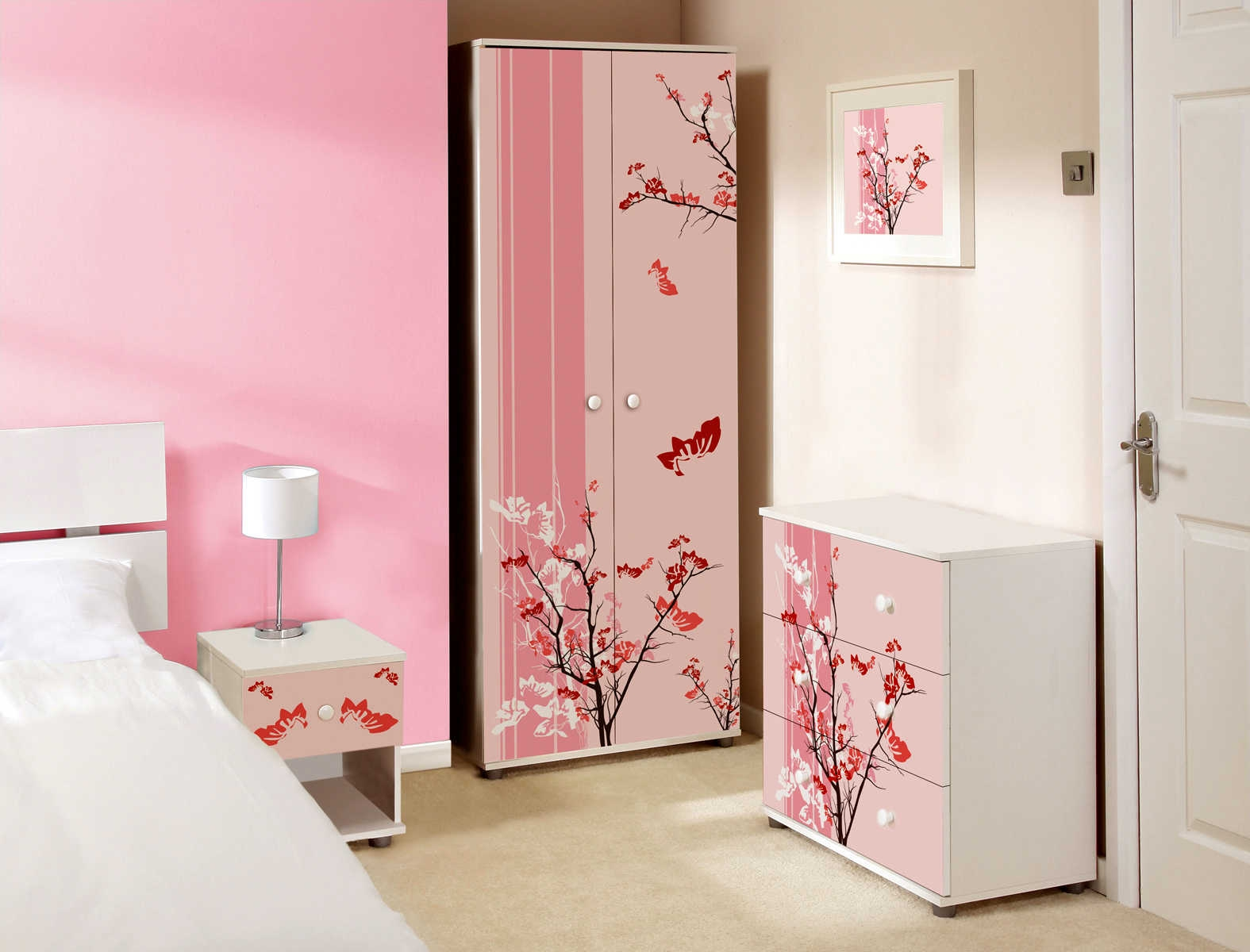 Childrens Pink Bedroom Furniture Uv Furniture Throughout Childrens Pink Wardrobes (View 8 of 25)