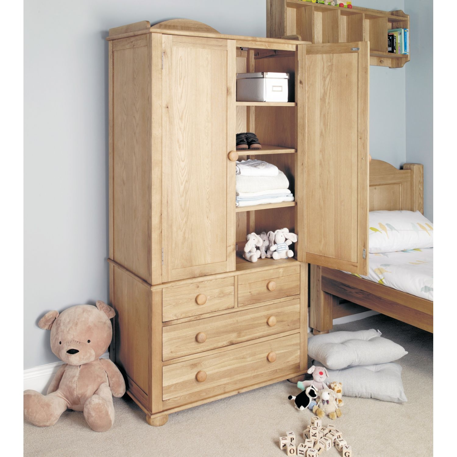 Childrens Wardrobes With Shelves Awesome Interior Inside Wardrobe With Shelves And Drawers (Image 6 of 15)