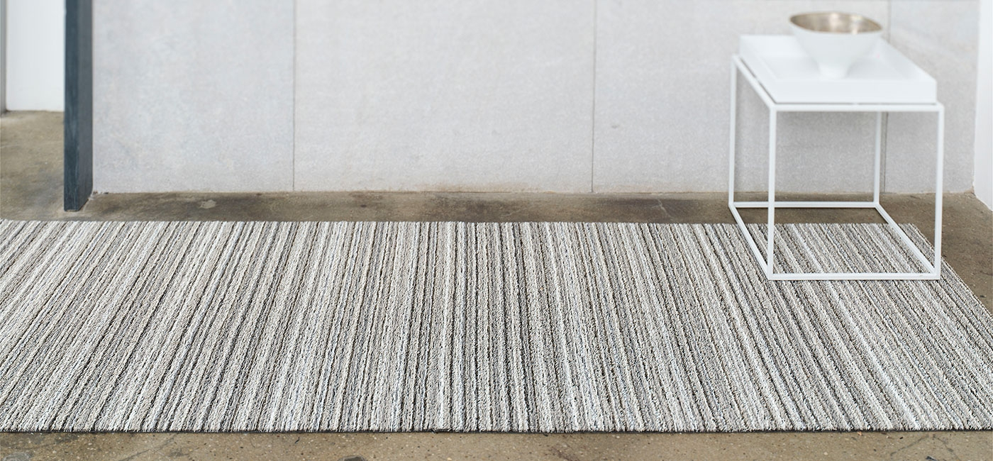Chilewich Floor Indooroutdoor Mats Shag Skinny Stripe Birch Inside Striped Mats (Image 5 of 15)