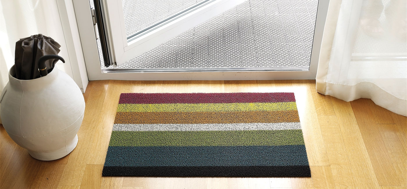 Chilewich Indoor Outdoor Floor Mats Shag Bold Stripe Regarding Striped Mats (Image 6 of 15)