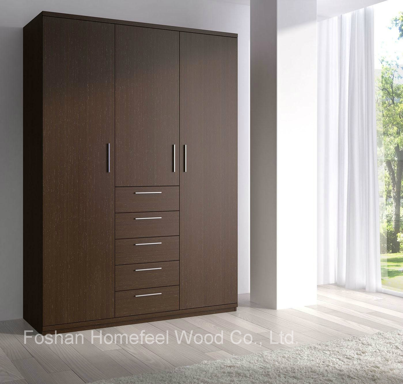 China Dark Brown Wooden Wardrobe With 3 Door Modern Furniture Hf With Regard To Dark Wood Wardrobes (Image 4 of 15)