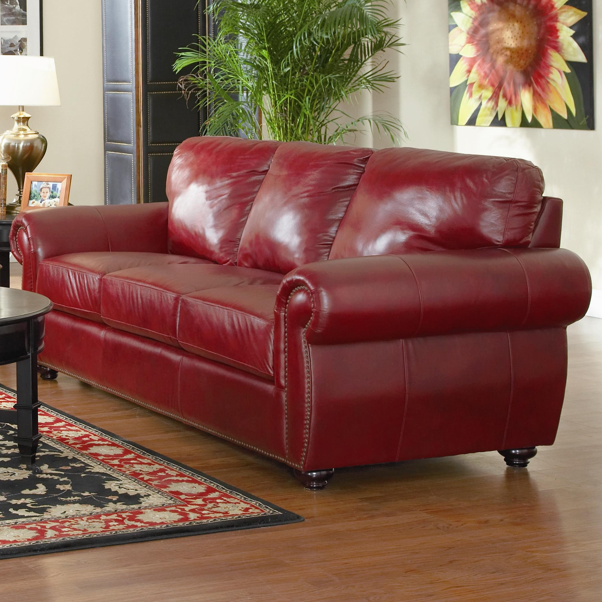 Chinese Red Leather Sofa Lewis Collection Burgundy Finish Pertaining To Traditional Leather Couch (Image 1 of 15)