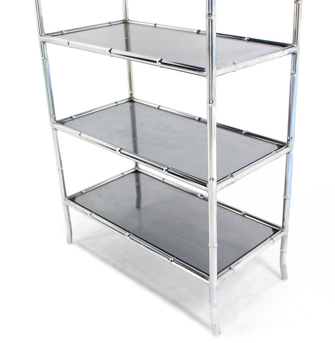 Chrome Faux Bamboo Etagere Unit With Smoked Glass Shelves At 1stdibs Regarding Smoked Glass Shelves (Image 1 of 15)