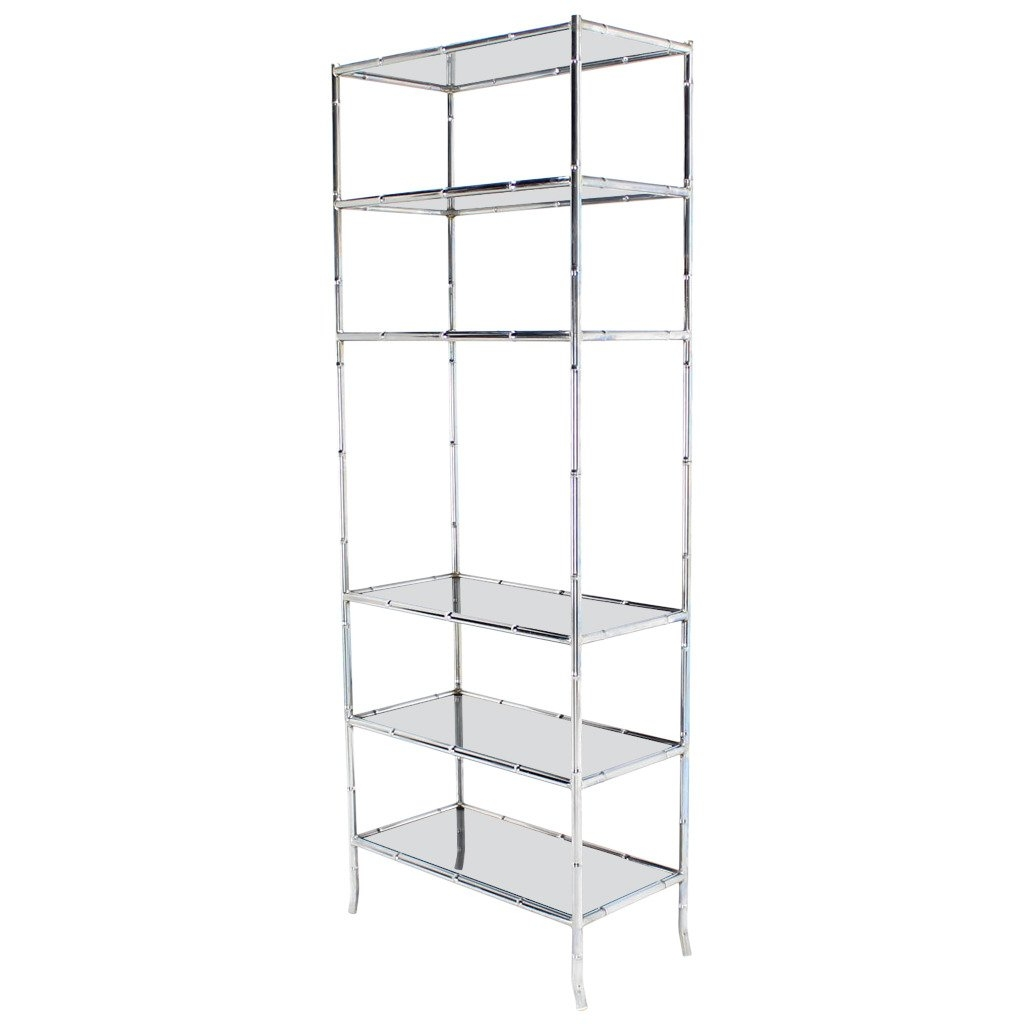 Chrome Faux Bamboo Etagere Unit With Smoked Glass Shelves At 1stdibs Throughout Smoked Glass Shelf (Image 3 of 15)