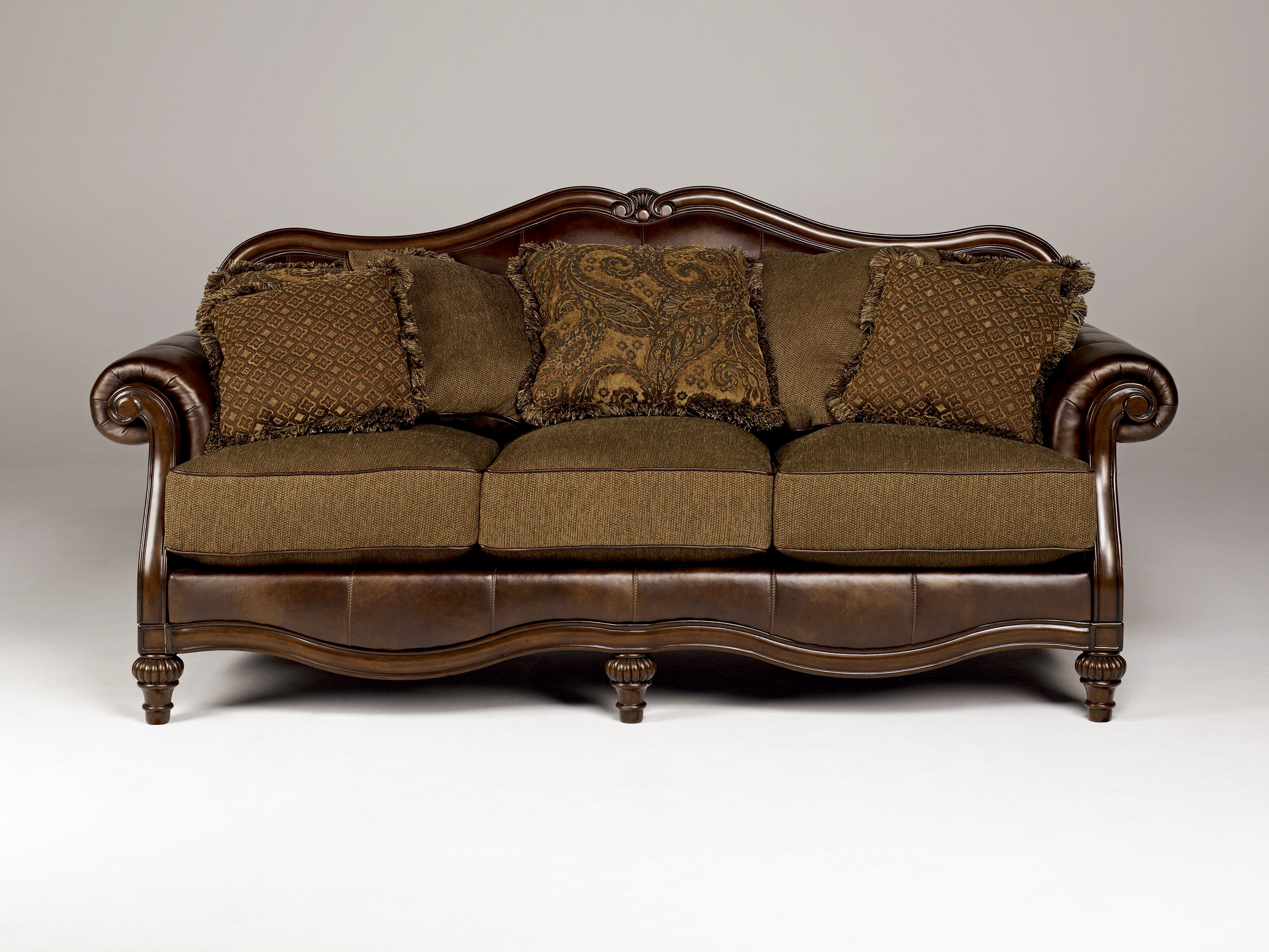 Claremore Traditional Antique Fabric Sofa Wpillow Back Living Throughout Antique Sofa Chairs (Image 9 of 15)