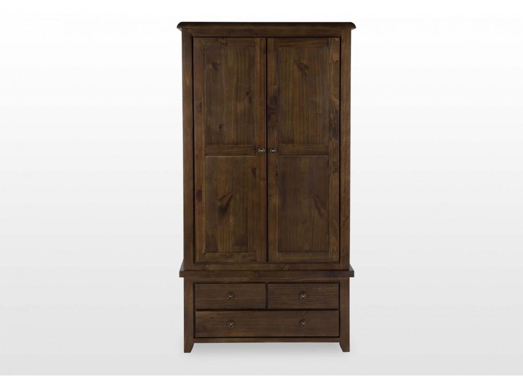 Classic Dark Wood Two Door Three Drawer Wardrobe Valentia Pertaining To Dark Wood Wardrobes (View 12 of 15)