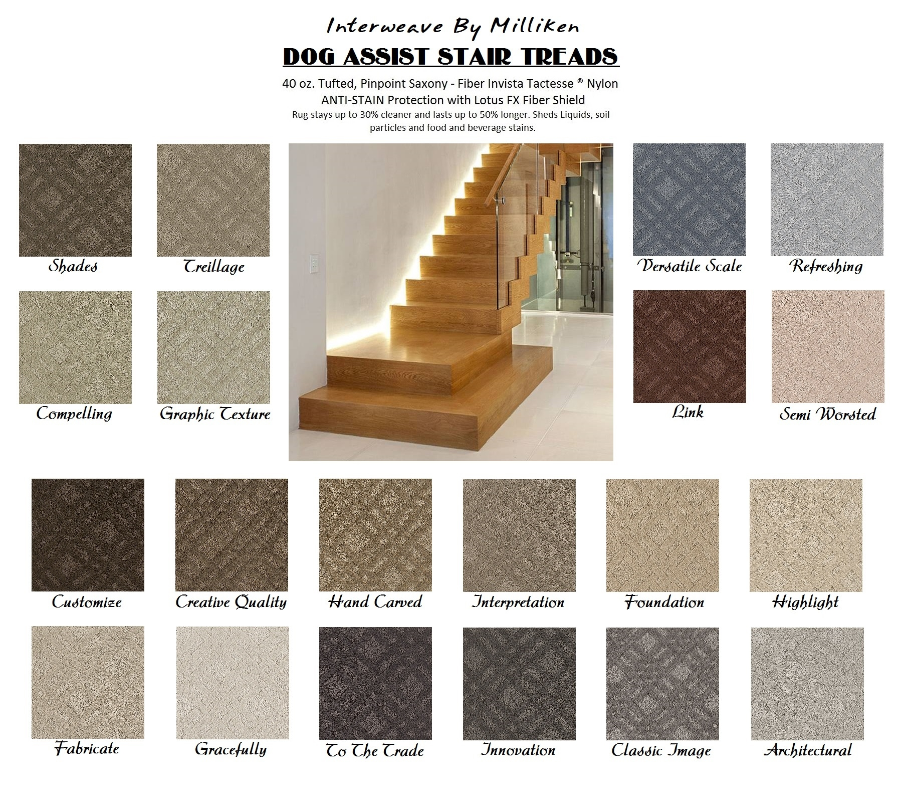 Classic Image Interweave Ii Dog Assist Carpet Stair Treads Regarding Stair Tread Rugs For Dogs (Image 4 of 15)